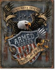 "12 1/2"" X 16"" This We'Ll Defend Armed Forces Strong & Free Metal Sign New"