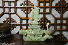 a Chinese Carved Green Stone Dragon Boat #20140263