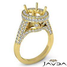 Oval Semi Mount Diamond Engagement Halo Pave Set Ring 18k Yellow Gold 1.3 Carat