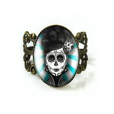 Teal Day of the Dead Sugar Skull Girl Punk Tattoo Antique Bronze Filigree Ring