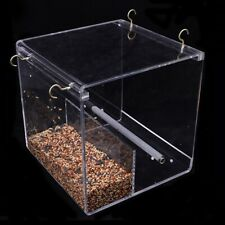 New listing Acrylic Clear Bird Feeder Birdhouse Window Water Feeder No Mess With Perch #Usa