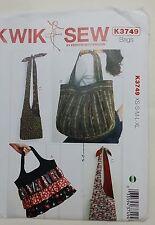 KWIK SEW 3749 LARGE TOTE BAG HANDBAG AND SLING SHOULDER BAG PATTERN NEW UNCUT