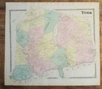 Antique Colored MAP - YORK, MAINE - / Atlas York County, ME - 1872