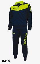 Givova Tuta Visa Training Allenamento Calcio Running Sport Tracksuit Uomo Donna Blu / Giallo Fluo L