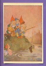GNOMES GIRL SHOE AND FANTASY VINTAGE POSTCARD 2513