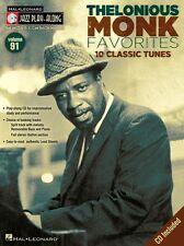 Jazz Play-Along Thelonious Monk Clarinette Saxophone Sax Livre de Musique Flûte en laiton