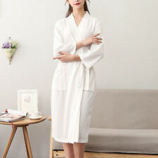 BATH ROBE UNISEX DRESSING GOWN Cotton Waffle Sleepwear Kimono Bathrobe Nightgown
