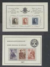 Belgium 1949 Stamp Centenary 1960 Refugees souvenir sheets Nh