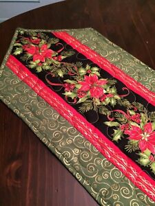 Handcrafted-Quilted Table Runner- Christmas 2020 - Holiday Flowers - Holly&Berry