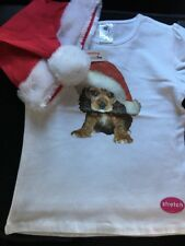 Girls Christmas T-shirt with Puppy motif. Plus Hat. Size 3. Glen Iris Vic.