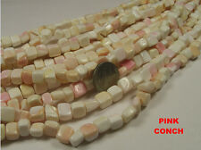 5 STRANDS PINK CONCH SHELL BEADS LOT 16 INCHES - STYLE 1  (PC1)