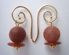 Schlangenachat orange Carneol Ohrschmuck Ohrhaken Ohrhänger 925 Silber vergoldet