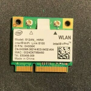 Intel Link 5100 Half PCIe Wifi Card 512AN_HMW 0H006K