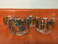 """Set Of 4 Mid Century Roly Poly Bar Glasses Vintage Retro 2 3/4"""" Tall"""