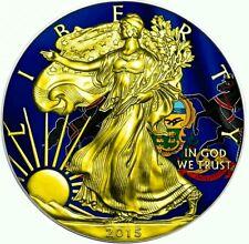 2015 Pennsylvania State Flag US Silver Eagle 1oz Silver Coin - 24kt Gold