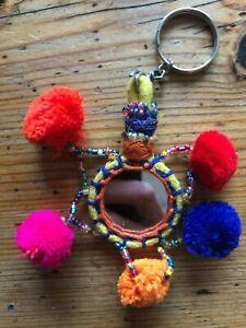 Mirror Pom Pom Tribal keyring bag charm decor ethnic hippy boho Indian key rings