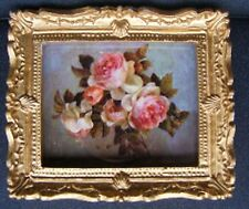 1:12 Scale Framed Picture Print Of Pink Roses Dolls House Miniature Art Flowers