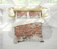 3D Red Brick Wall Quilt Cover Set Pillowcases Duvet Cover 3pcs Bedding