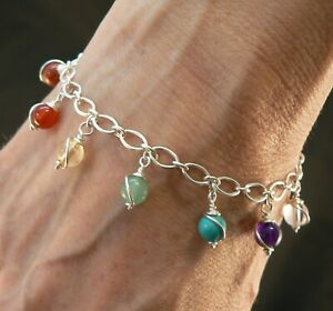 Sterling silver Chakra bracelet with hand wrapped gemstone beads Birthday gift