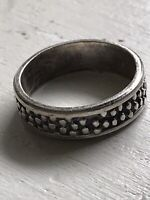 VTG Sterling Silver - MEXICO TAXCO Modernist Dots Hammered Solid Ring Sz 9 6.5g