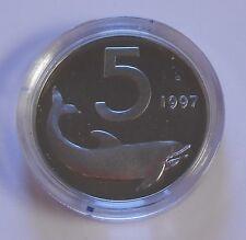 5 LIRE 1997 DELFINO PROOF IN CAPSULA - MONETA NON COMUNE -