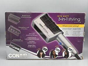 Conair 1875 Watt 3 in 1 Styling Hair Dryer 3 Attachments Detangle Straightener