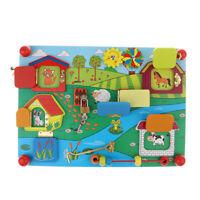 Cute Practical Life Animal Lock Board Sensory Puzzle Baby Montessori Toy