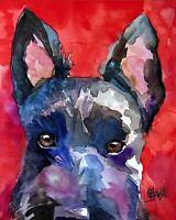Scottish Terrier Art Print Signed by Artist Ron Krajewski Painting 8x10 Scottie