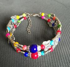 Ladies Bangle Tibetan Silver Woman Multicolor Jade Bracelet