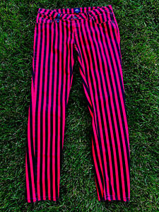 Size 30 AUTHENTIC ICON Red Retro Striped Straight Jeans