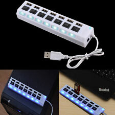 7 Port White LED USB 2.0 Hub High Speed Adapter On/Off Switch For Laptop PC