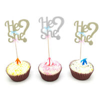 Gender Reveal Baby Shower Baby Boy Girl He or She Glitter Cake Topper DIY De SE
