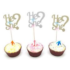 Gender Reveal Baby Shower Baby Boy Girl He or She Glitter Cake Topper DIY Dec_ZZ
