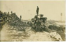 1910 B&W  Real Photo Postcard Logging in Wisconsin