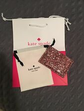 KATE SPADE Graham Greta Court Dusty Peony Glitter Card Holder