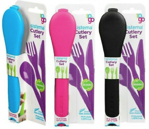 Sistema Cutlery To Go Set - Knives Fork Spoon Case Travel Work Lunchbox