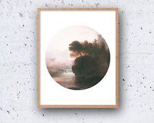 8 x 10in ABSTRACT MODERN mountain castle circle danish nordic wall art print