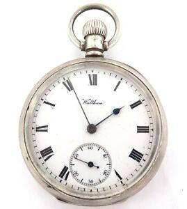 ENGLISH STERLING SILVER CASE / c1908 WALTHAM MARQUIS 15J POCKET WATCH.