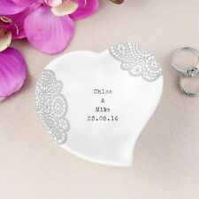 Dainty Lace Ceramic Ring Dish Personalised Ring Dish Mr & Mrs Wedding Ring Dish