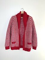 Vtg 60s Granny Grandpa Crochet Hippie Sweater Coat Cardigan Chunky Hand knit red