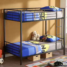Modern Metal Twin over Twin Bunk Beds Frame Ladder Adult Children Bedroom Dorm