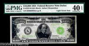"""FR 2231K $10,000 1934 GRADED PMG 40! """"LIGHT GREEN SEAL""""! TWO DIGIT #32 FEDERAL"""
