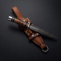 Damascus Stacked Leather fighting dagger / Carbon Steel, Hunter Knife