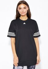 adidas Originals Women Black Long Loose Sweatshirt Logo Tee T-shirt Top XS S M L (uk Size 16 - 18) EU 42 - 44