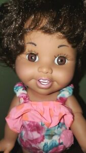 """Vintage galoob baby face doll #14 So Tender Tina African American 13"""" w/ outfit"""
