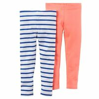 New Carter's Girls 2 Pack Neon Orange & Striped Leggings NWT 24m 7 Kid Stretch