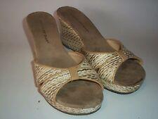 Montego Bay Club Womens size 7.5M Wedge white beige High Heels Peep Toe EUR 39.5