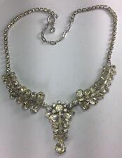 "Vintage Jay Flex Sterling Silver & Rhinestones Drop Chandelier Necklace 16.5"" N3"