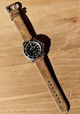 18mm Vintage Leather Watch Strap -  'Dark Khaki' - CLEARANCE