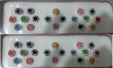 2Pack multi Round Style Colored Bindis Studded With Rhinestones/Indian  Bindis
